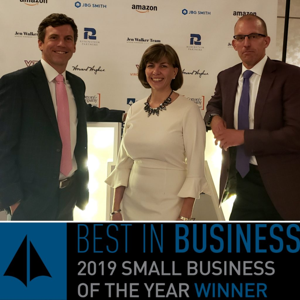 Employees of Tartan Properties Commercial employees receive award for Best Small Business in Alexandria 2019